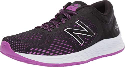 New Balance womens Fresh Foam Arishi V2 Running Shoe, Black/Voltage Violet/Silver Metallic, 7.5 US