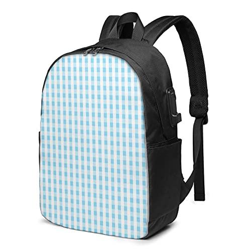 Sac à Dos Homme Femme Ordinateur Portable 17 avec Port De USB pour Voyage Affaires École Rhombus Vichy Briques Réfractaires