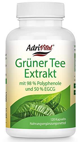 Grüner Tee Extrakt von AdriVital - 120 Kapseln - mit 50% EGCG und 98% Polyphenole - Energie - Fettverbrennung - Konzentrationsfähigkeit - vegan/vegetarisch - hergestellt in Deutschland