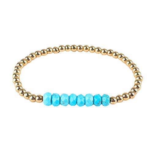 KELITCH Natürlich Türkis Strecken Wickeln Armbänder Kristall Silber Gold Wulstig Armbänder Armreifen Schmuck Zum Frau - Blau EIN