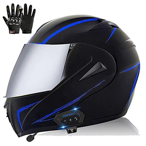 Bluetooth Casco de Moto Modular Mujeres y Hombres, ECE Homologado Casco de Moto Scooter Integrado con Doble Visera Transpirable y Cómodo Cascos de Motocicleta para Adultos
