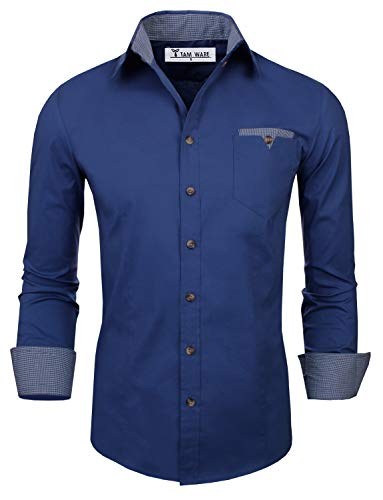 TAM WARE Mens Classic Slim Fit Contrast Inner Long Sleeve Dress Shirts TWNMS310S-8219-BLUE-US L