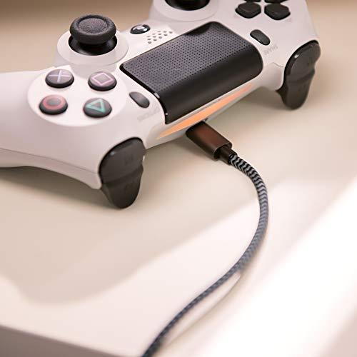 RAMPOW Micro USB Kabel, 3M, Micro USB Schnellladekal (Nylongeflecht) Kompatibel mit Android Smartphones, Samsung, HTC, Huawei, Sony, Nexus, Nokia, Kindle und Mehr - Grau