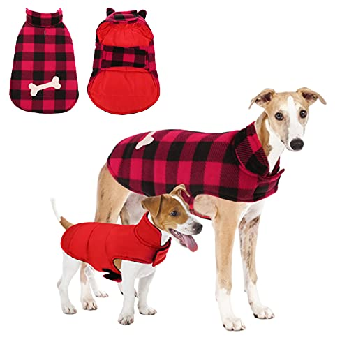 Dasior Dog Winter Coat, Classic Plaid Reversible Jacket for Pet Cold Weather Clothing (Red, Large)