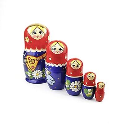 Heka Naturals Russian Nesting Dolls, 5 Traditional Matryoshka | Babushka Wooden Dolls, Hand Made in Russia
