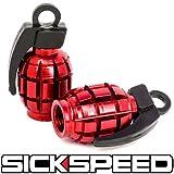 Sickspeed 2 Anodized Grenade Valve Stem Cap Kit/Set for Rims/Wheels/Tires P1 Red for Mazda MX-5 Miata