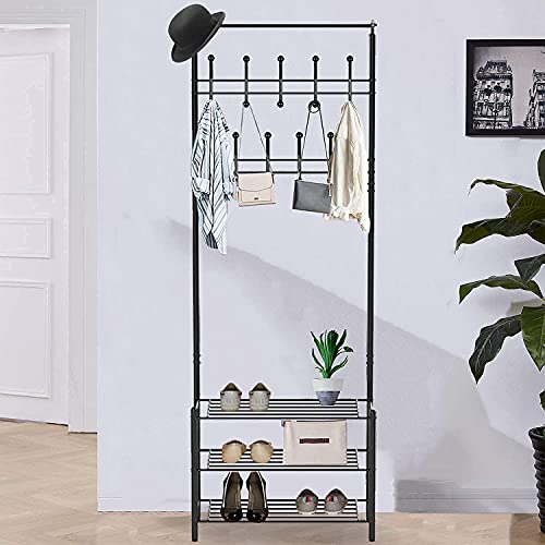 Entryway Coat Rack with Storage Shoe Rack, 3 in 1 Hall Tree with Shoe Bench, Metal Coat Hanger Stand with 18 Hooks and 3-Tier Shoe Shelves for Entryway, Mushroom