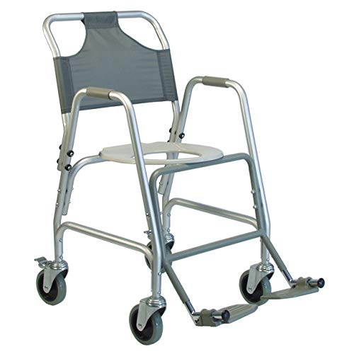 Lumex Aluminum Shower Transport Chair with 5 Inches Swivel Casters, Nylon Backrest and Padded Arm Rests, Silver
