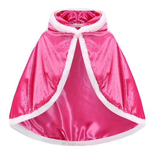Toigyer プリンセスマント 帽子付きケープ 子供用 女の子 お姫様クローク 隠しボタン 誕生日 パーティー ハロウィン