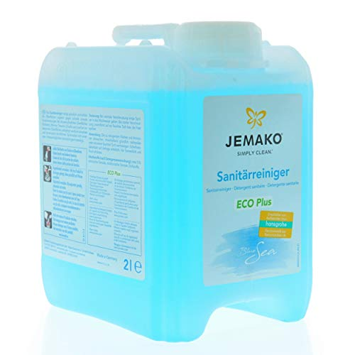 Jemako Sanitärreiniger (Blue Sea) ECO Plus 2l Kanister | für strahlende Sauberkeit im kompletten Sanitärbereich | inkl. Sinland Microfasertuch