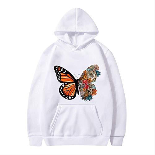 ZCMWY Fall Hoodie Sweatshirts Women'S Butterfly Fun Pattern Printed Long-Sleeve Hooded Sweatshirt Oversize Pullovers Warm L White