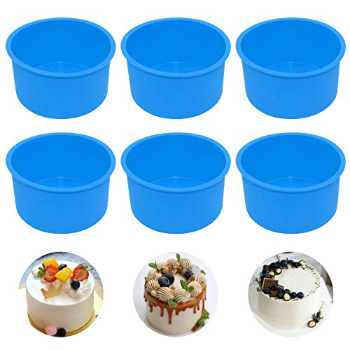 Silicone Mini Cake Molds 4 Inch Round Baking Pan Non-Stick Silicone Baking Mold Bakeware Pan Reusable Cake Pans for Mini Cake Mousse Dessert, Blue, Set of 6