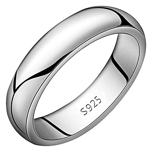 Meixao Unisex Solid 925 Sterling Silver Highly Polished Wedding Ring 5mm Band in Sizes J-Z (Q)