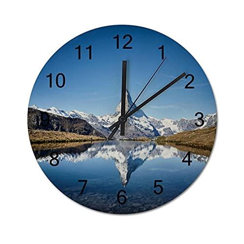Reloj de Pared ,Matterhorn, Zermatt, Suiza, Relojes de Pared Digitales de Madera Que no Hacen tictac, Funcionan con Pilas, decoración Sala de Estar, Dormitorio, Aula, Oficina (10 Pulgadas).