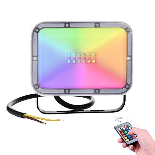 20W RGB Led Strahler 16 Farben Speicher Funktion Led Fluter Mit Fernbedienung IP65 Wasserdichtes 4-Modus-Dimmlicht für die Weihnachtsfeier der Geburtstagsfeie(Memory-Funktion)