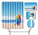 Alfombra de baño N/Z Ocean de tres piezas para baño, cocina, dormitorio, sala de estar, alfombra de eBay, Ocean 098, 50 cm x 80 cm, juego de tres piezas + 180 cm x 180 cm cortina de ducha