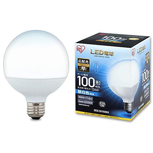 アイリスオーヤマ LEDボール球 口金直径26mm 100W形相当 昼白色 広配光タイプ 密閉器具対応 LDG12N-G-10V4