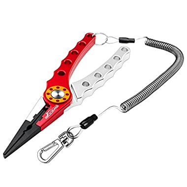 Booms Fishing X1 Aluminum Fishing Pliers Resistant Saltwater for Cutting Braid Line and Remove Hooks or Lure with Coiled Lanyard and Belt Holder Sheath 6 Color Available