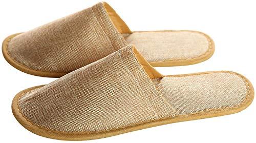 Paquete de Zapatillas de SPA con Punta Cerrada, Zapatillas de Hotel de algodón y Lino a Granel,...
