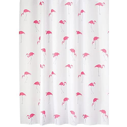 mDesign Duschvorhang aus Polyester – leicht zu pflegener Vorhang für Dusche oder Badewanne – waschbarer Badewannenvorhang mit verstärkten Löchern & Flamingos – pink/weiß