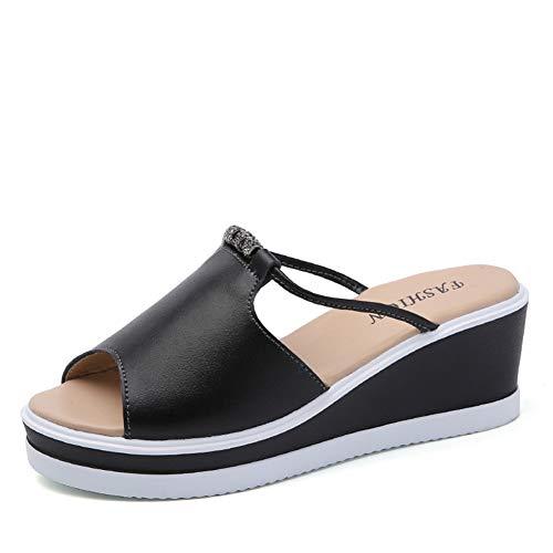 Frauen Plattform Heels Sandalen Peep Toe Mules Clogs Kristall Elegante High Heels Damen Slip on Keilabsatz Lässige Sommerschuhe