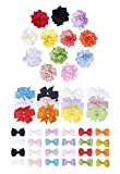 Finrezio 48 PCS Grosgrain Ribbon Flower Baby Hair Bow Clips for Toddler Ba