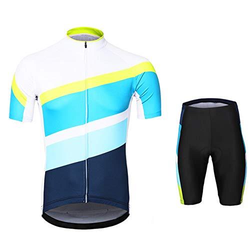 Ciclismo Maillot Hombres Jersey + Pantalones Cortos Babero Mangas Cortas De Ciclismo Ropa Transpirable para Deportes Al Aire Libre Ciclo Bicicleta,S