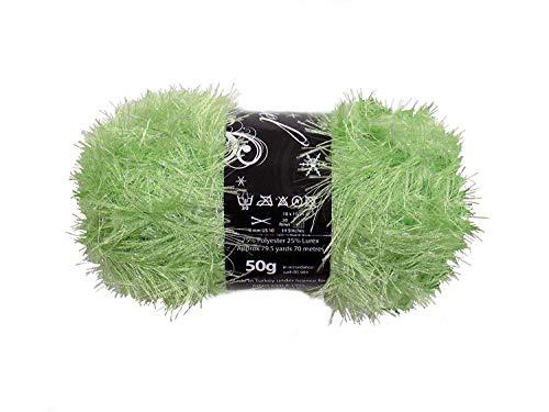 4 X Limette Grün Lametta Funkeln Wimper Grob 50g Wool Garn Knäuel Gratis Schal Muster