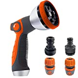Garden Hose Nozzle, Water Hose Nozzle Heavy Duty, 10 Hose Metal Duty Watering Patterns Thumb Control On Off Valve, High Pressure Nozzle Sprayer for Lawns Watering, Car Washing, Cleaning,Showering Pets