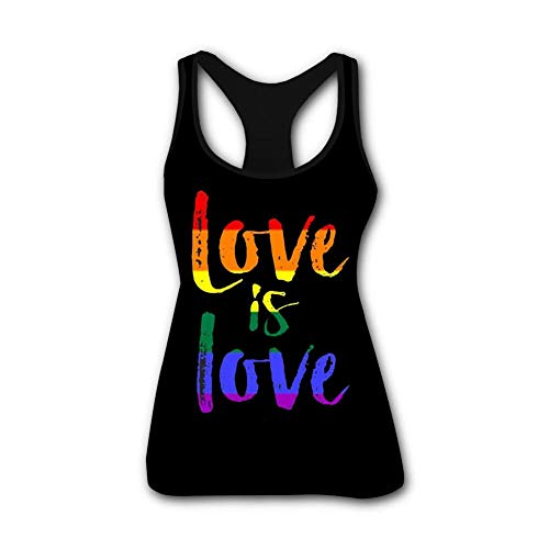 Women's 3D Printed Leisure Love is Love Sleeveless T Shirt Tank Top S Black