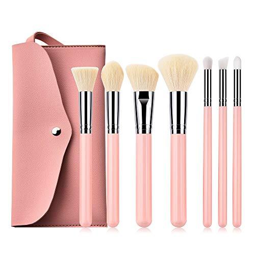 MEIYY Pinceau De Maquillage 7Pcs Rose Pinceaux De Maquillage Ensemble + Sac Poudre Blush Contour Fard À Paupières Mélange Pinceau Blush Surligneur