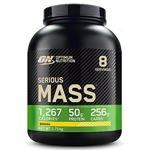 Optimum Nutrition Serious Mass Gainer, Proteine Whey in Polvere per Aumentare la Massa Muscolare con Creatina, Glutammina e Vitamine, Banana, 8 Porzioni, 2.73 kg, il Packaging Potrebbe Variare