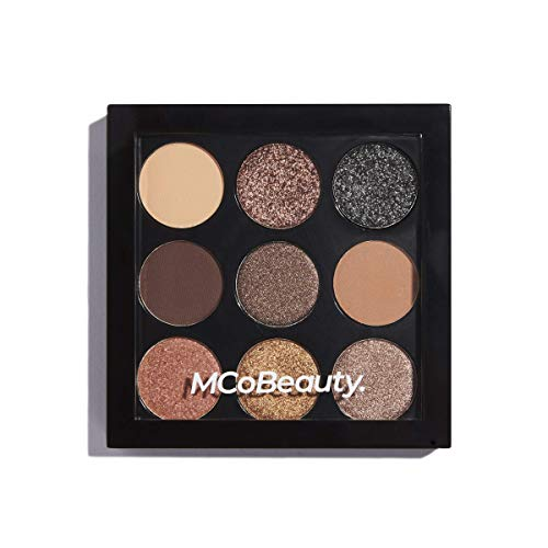 MCoBeauty Eyeshadow Makeup Palette | Vegan | 9 Highly Pigmented Burgundy and Smokey Nudes