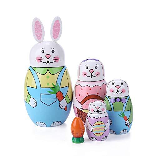 Nistbare Hasenpuppen aus Holz, Cartoon-niedliche Tiere, Engel-Muster, russische Matroschka, stapelbare Puppen, Kinder, Spielzeug, Geschenk, Dekoration (Tiere)