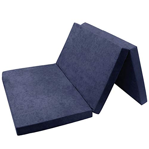 FORTISLINE Matelas d'appoint Pliant 2 Places lit d'appoint lit d'invité futon Pouf 195x120x9 cm Couleur Bleu Marine