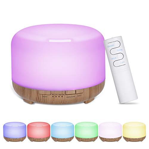 Yorten 480ml Acoustic-Luftbefeuchter Aroma Diffuser Nebel-Hersteller mit Fernbedienung Controller-bunten Licht Design 4 Stufen Timer Zeiteinstellung für Schlafzimmer und Wohnzimmer