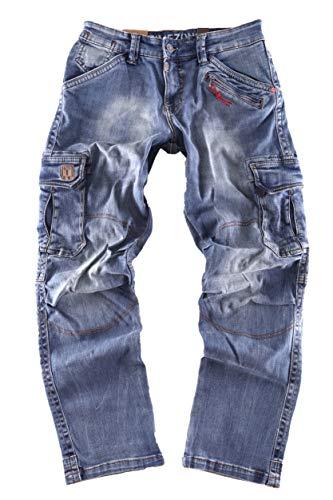 Timezone Herren Cargo Jeans Hose BenitoTZ 3300 White Used wash W34/L30