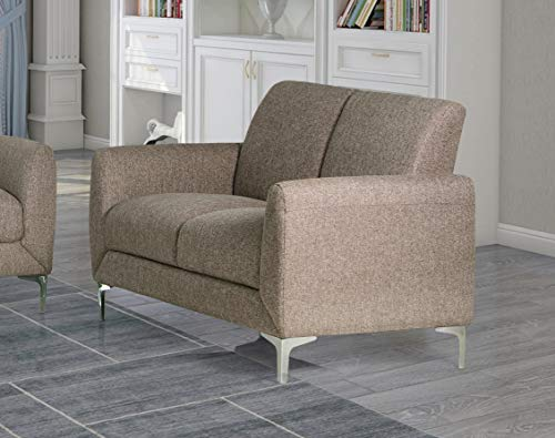 Best Master Furniture Damian Upholstered Living Room Loveseat, Wheat