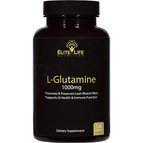 L-Glutamine 1000mg - Best L Glutamine Supplement - Pure, Natural, and Vegan Amino Acid - Promotes and Preserves Lean Muscle Mass - Supports GI Health and Immune System Function - 120 Capsules