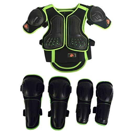Niños Motocicleta Traje Bici suciedad Pecho Protector espina dorsal Brazo del hombro Codo Protector de la rodilla Motocross Carreras Esquí Patinaje Chaleco armadura para deportes