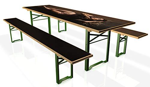 Wallario Tischdecke für Bierzeltgarnituren, selbstklebend, Folie für 1 Tisch und 2 Bänke - Motiv: Liegende Schönheit