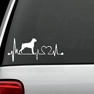 CCI Boxer Heartbeat Decal Vinyl Sticker Cars Trucks Vans Walls Laptop  White  5.5 x 2.5 in CCI475
