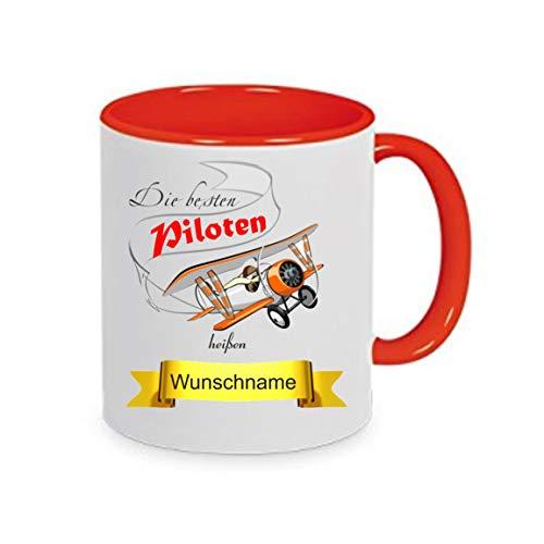 crealuxe Tasse m. Wunschname Piloten heißen. Wunschname - Kaffeetasse mit Motiv, Bedruckte Tasse mit Sprüchen oder Bildern