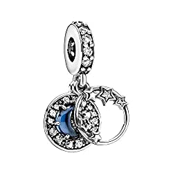 Show with the blue night sky crescent moon and stars charm pendant that your love knows no boundaries The hand-finished sterling silver charm has an open circle on the front decorated with stars that overlap the frame The rear disc contains a raised ...
