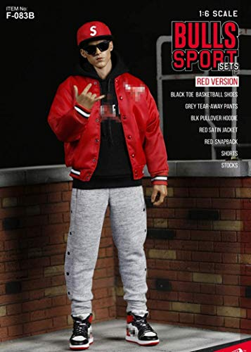 NEDTO 1/6 Scale Male Figure Doll Clothes Full Set, Hip-HOP Style, Clothes+Accessories Set for 12