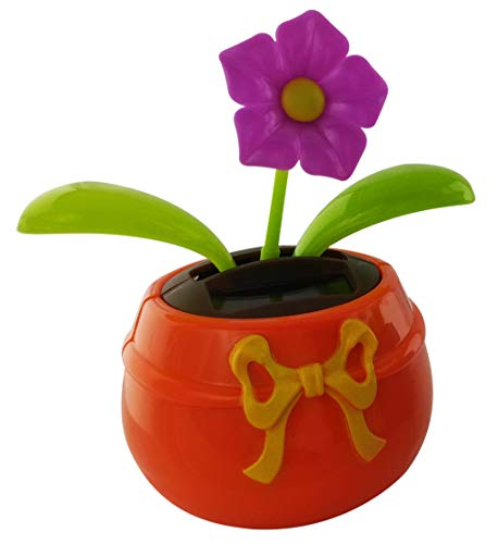 Outdoors By Design Eco-Friendly Solar Dancing Toy | Purple Solar Wild Flower in Decorative Pot | Solar Powered Flower Dancing Toys | Car Flower Pot for Your Dashboard