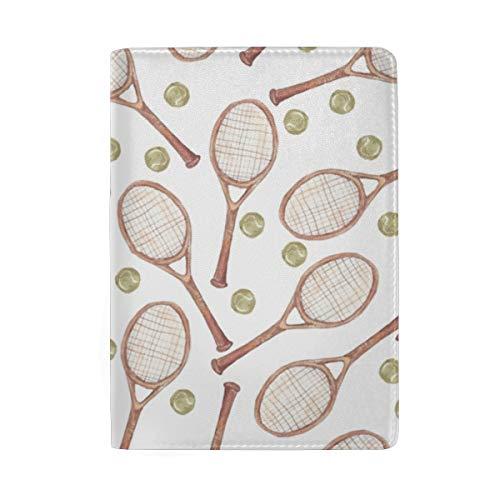 Passport Holder Cover Tennis Racket Ball- Leather ID Card Case Travel Wallet Document Organizer, WangH 6.5