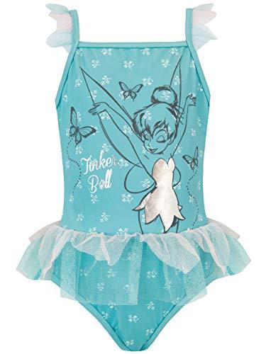 Disney Bañador para Niña Tinkerbell Azul 5-6 Años
