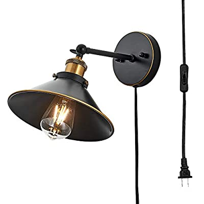 Wall Lamp Vintage Wall Sconce Plug in, Black Industrial Wall Light Mounted Wall Sconce Light Fixture with On Off Switch for Bedroom,Doorway, Nightstand