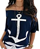 Women's Short Sleeve Loose Fit Off Shoulder Printed Casual Anchor Blouse Tops Navy Blue
